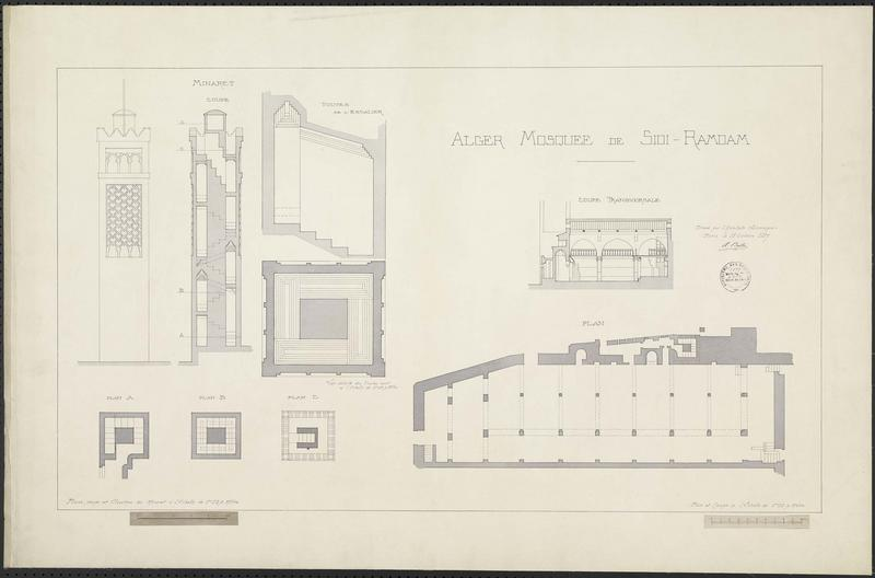 Coupe transversale et plan de la mosquée. Plans, coupe et élévation du minaret. Voûtes de l'escalier du minaret