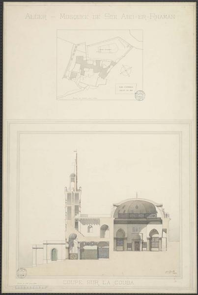 Plan d'ensemble dressé en 1860. Coupe sur la qubba