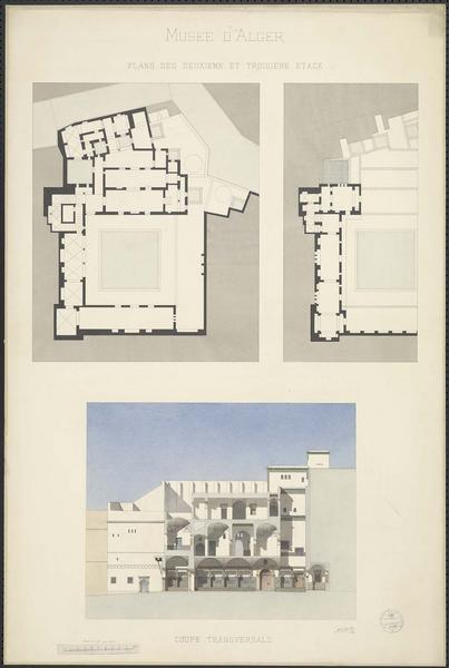 Plans des deuxième et troisième étages. Coupe transversale
