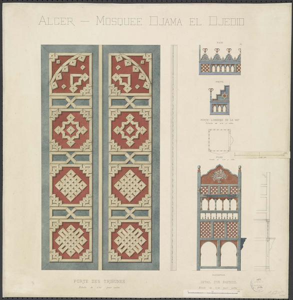 Élévation et coupe de la porte des tribunes. Profils et plan des porte-lumières de la nef. Élévation et coupe d'un fauteuil
