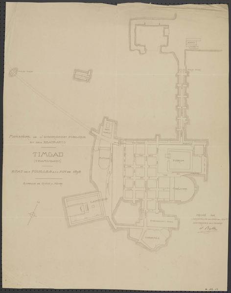 Plan de l'état des fouilles à la fin de 1898
