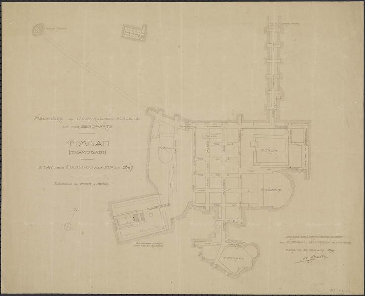 Plan de l'état des fouilles à la fin de 1897