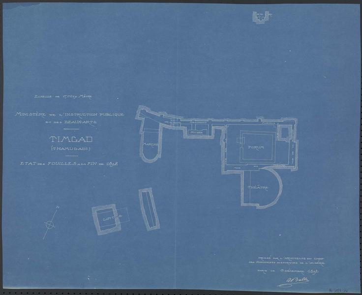 Plan de l'état des fouilles à la fin de 1892