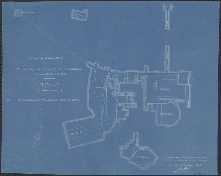 Plan de l'état des fouilles à la fin de 1894