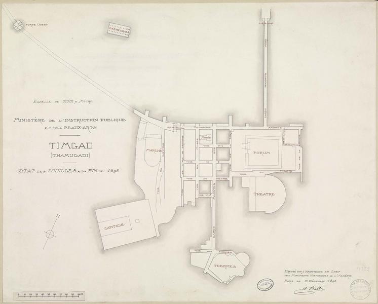 Plan de l'état des fouilles à la fin de 1895