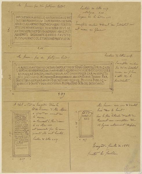 Détails d'inscriptions trouvées lors des fouilles