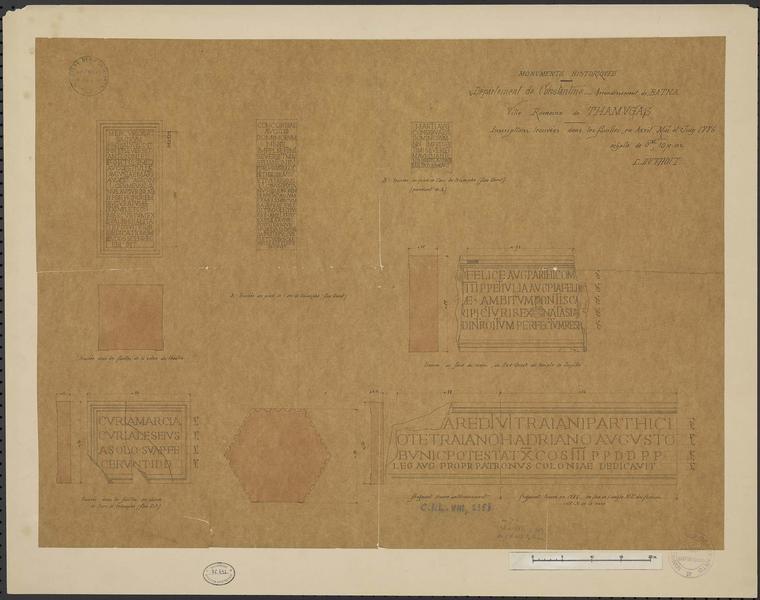 Détails d'inscriptions trouvées dans les fouilles en avril, mai et juin 1886