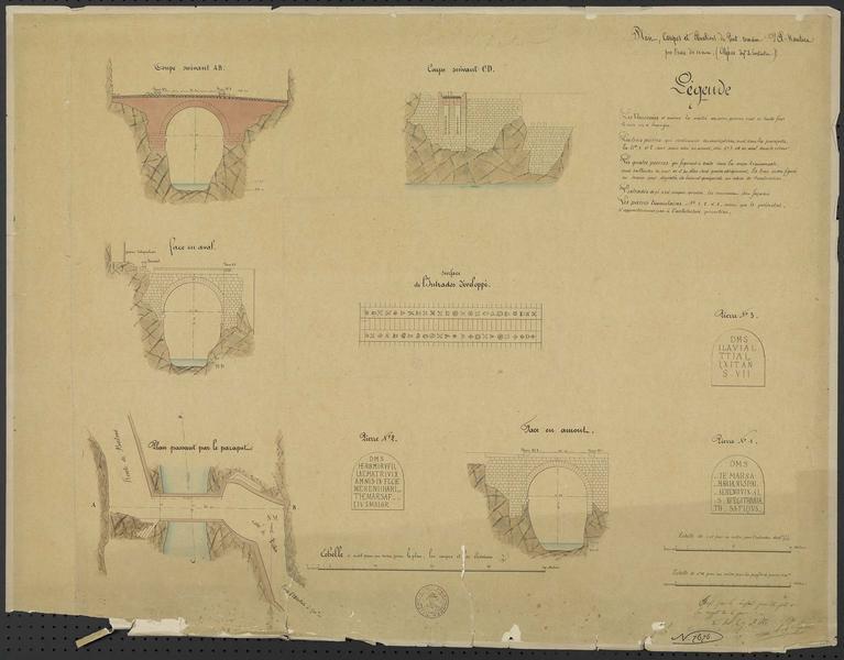Plan, coupes et élévations du port romain