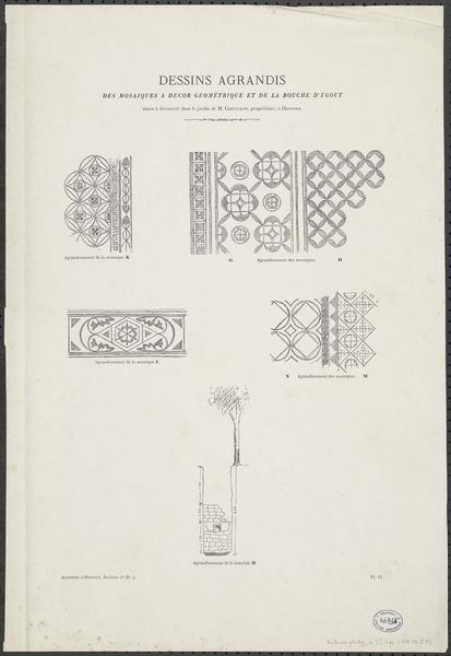 Détails des mosaïques à décor géométrique et de la bouche d'égout mise à découvert dans le jardin de M. Chevillot