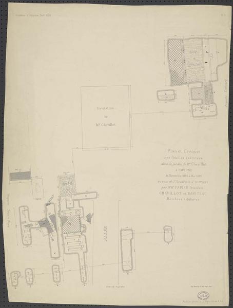 Plan et croquis des fouilles exécutées dans le jardin de M. Chevillot