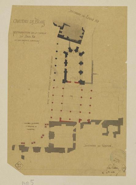 Plan de restauration de la chapelle de Louis XII et des parties contiguës