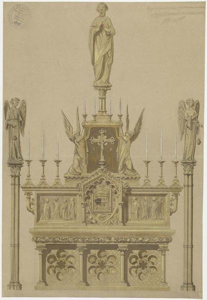 Projet d'aménagement de la chapelle du Sacré-Coeur dans le choeur, plan du dallage, de l'autel  et de son emmarchement, élévations frontale et latérale de l'autel projeté