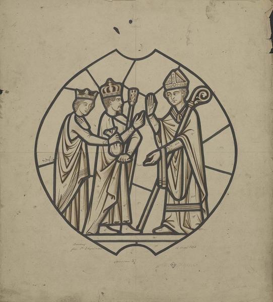 Maquette de vitrail : l'empereur et l'impératrice reçus par Mgr de Salinis