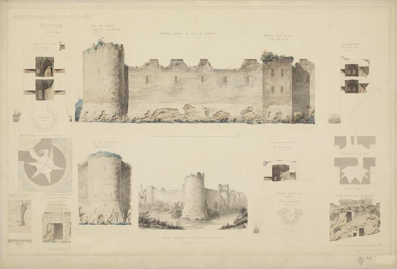 Coupes, élévations, plans, détails et vue de la tour dite du Gouverneur, de la tour aux Engins et de tours carrées côté ville et côté fossé