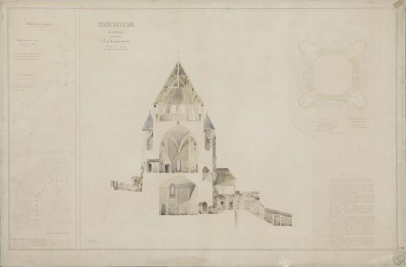 Détails de la charpente, coupe et plan. Plan de la grande salle et des tourelles. Coupe longitudinale