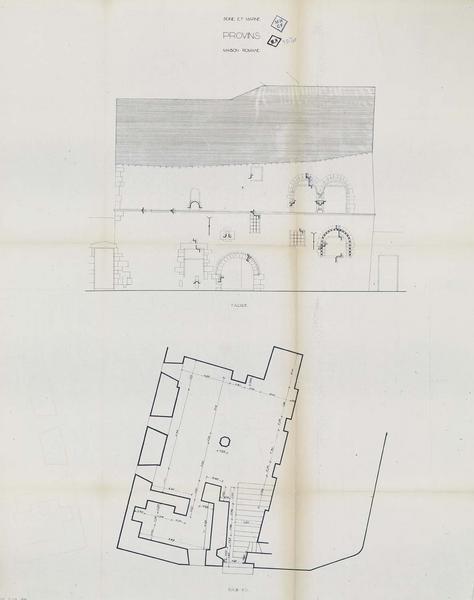 Élévation de la façade et plan du sous-sol