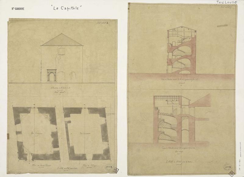 Donjon : Élévation de la façade, coupes et plans du rez-de-chaussée et du premier étage, état actuel