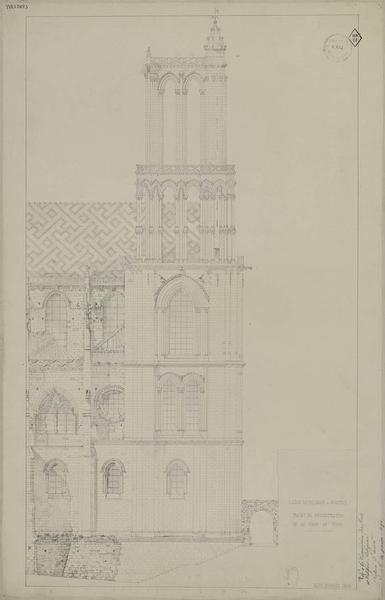 Projet de reconstruction de la tour du nord, élévation de la face latérale
