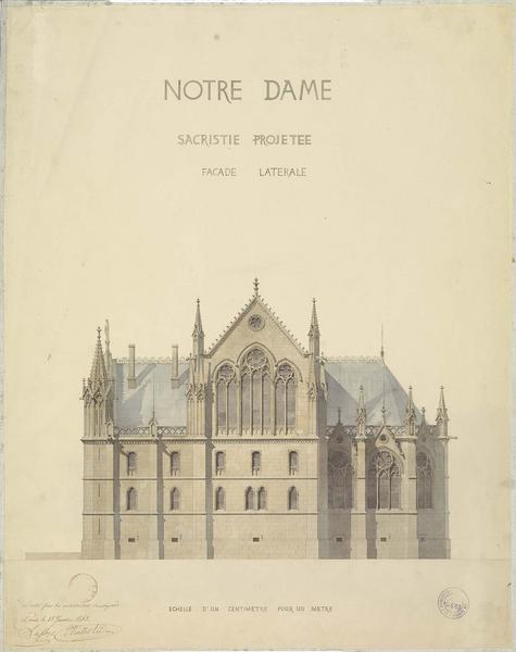 Premier projet de sacristie, élévation de la façade latérale
