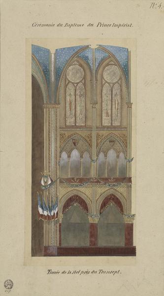 Cérémonie du baptême impérial : travée de la nef près du transept