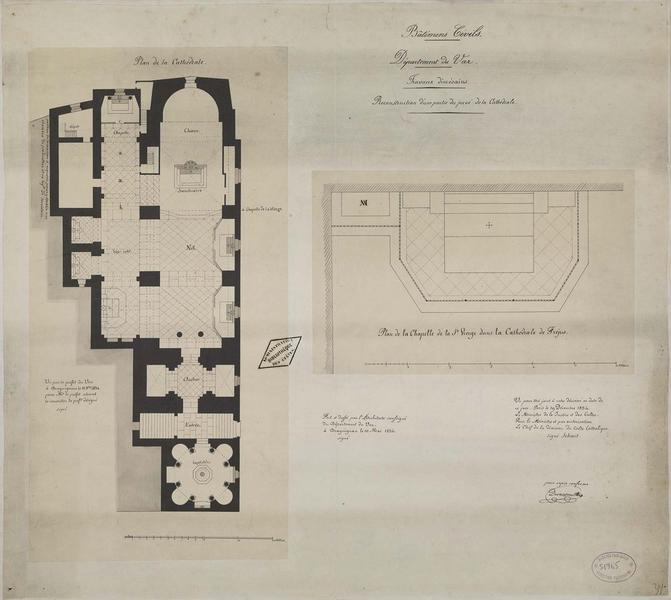 Restauration d'une partie du pavage. Plan de l'édifice avec l'indication du pavage. Plan du pavage de la chapelle de la Vierge