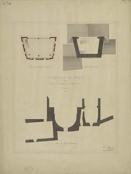 Projet de rétablissement du crénelage et de la couverture de la tour de défense au-dessus de l'abside. Plan du rez-de-chaussée. Plan de l'étage de défense