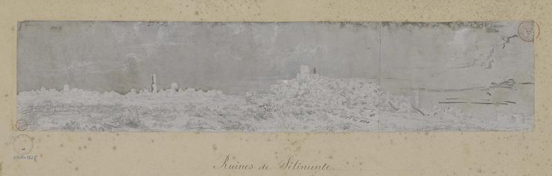 Vue perspective des temples, ruines