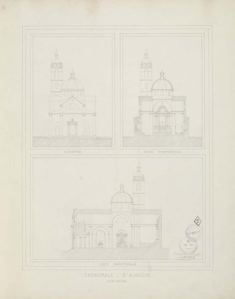 Élévation de la façade principale. Coupes transversale et longitudinale. État actuel