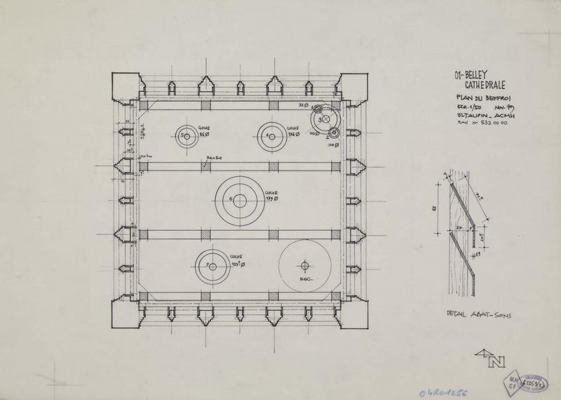 Plan du beffroi et détail d'un abat-son