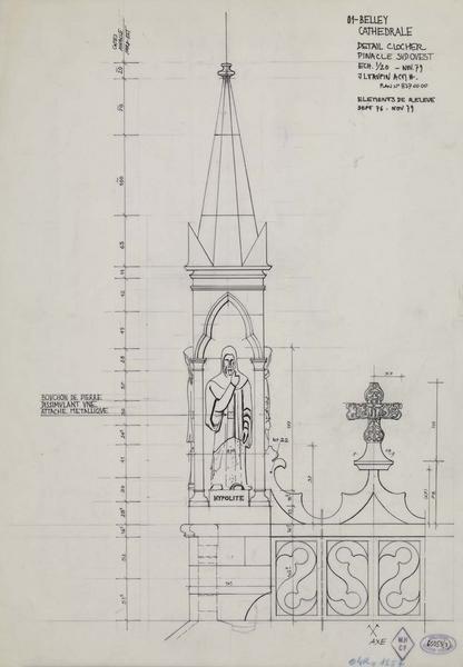 Détail du clocher. Élévation du pinacle sud-ouest