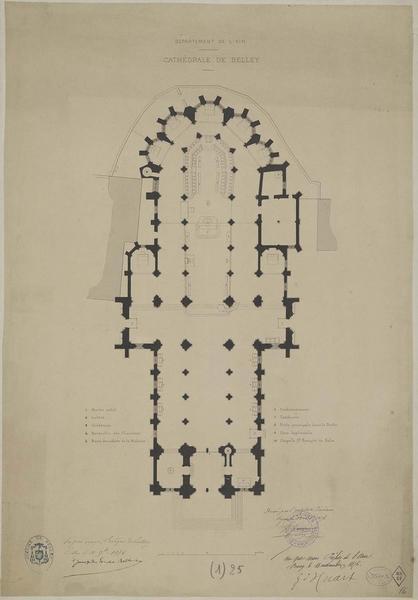 Plan avec indication de l'emplacement des différents objets cultuels