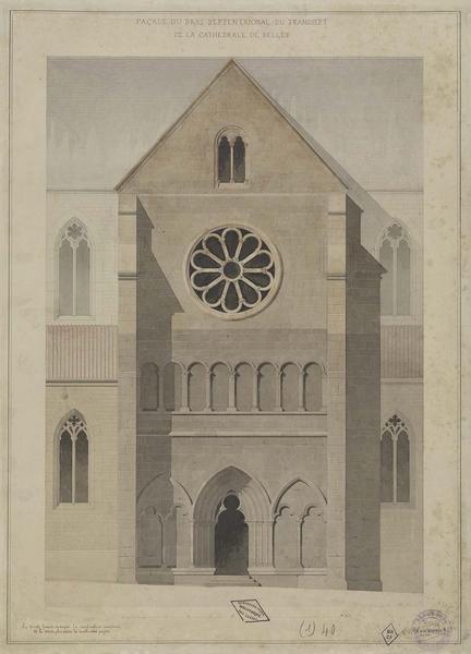 Élévation de la façade du bras septentrional du transept