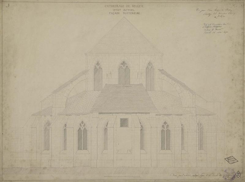 Élévation de la façade postérieure, état actuel