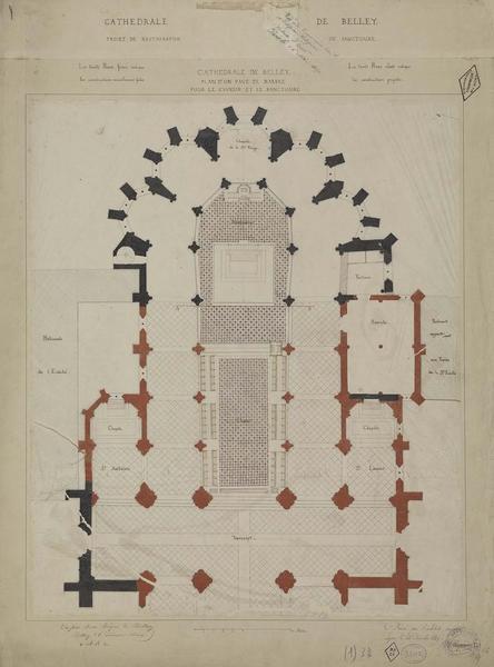 Plan d'un pavé de marbre pour le choeur et le sanctuaire