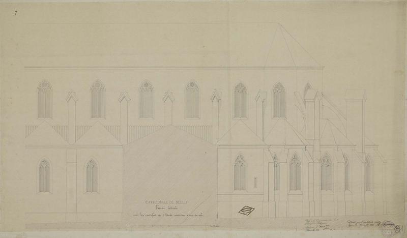 Élévation de la façade latérale avec les contreforts de l'abside semblables à ceux des nefs