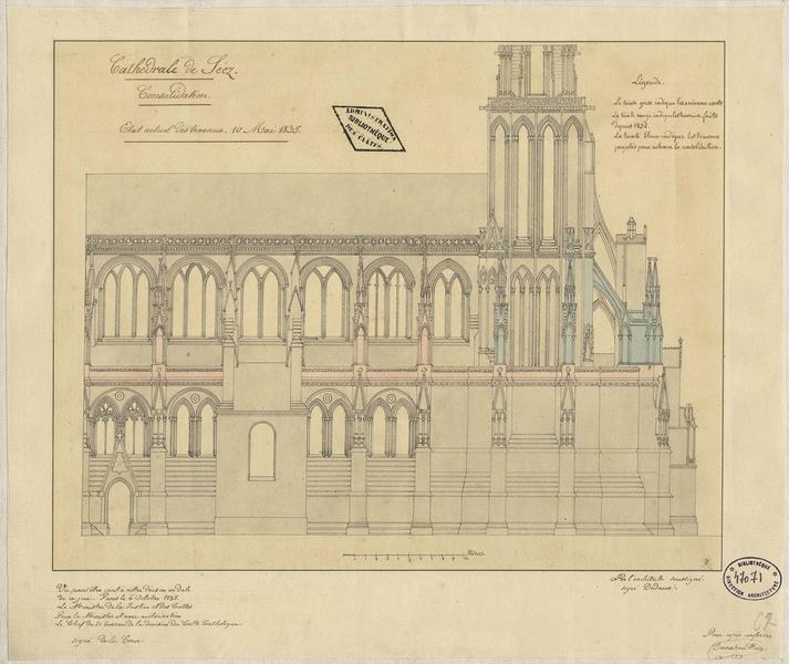 Restauration du bas-côté et du transept sud : élévation de la façade sud avec l'indication des travaux effectués depuis 1832 et des travaux projetés