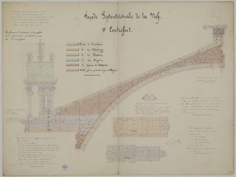 Façade septentrionale de la nef, premier contrefort. Détails du pinacle et de l'arc-boutant. Attachement figuré