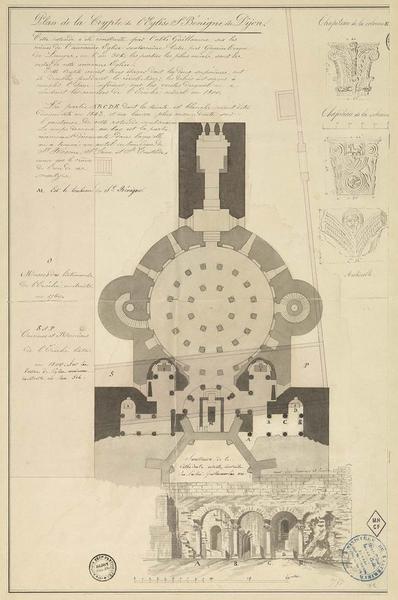 Plan et vue perspective de la crypte. Détails des chapiteaux et des archivoltes