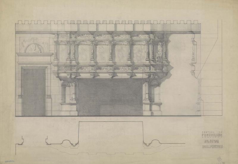Élévation, coupe et plan de la cheminée du premier étage, pièce 5