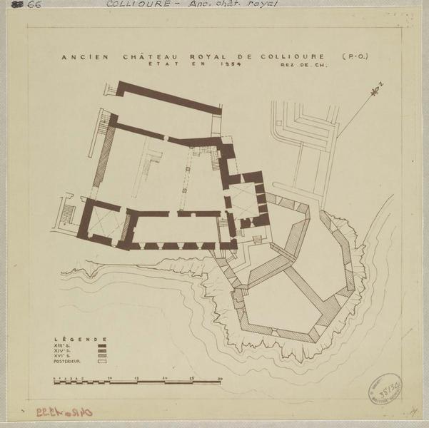 Restauration de l'édifice : plan archéologique du rez-de-chaussée ; état actuel