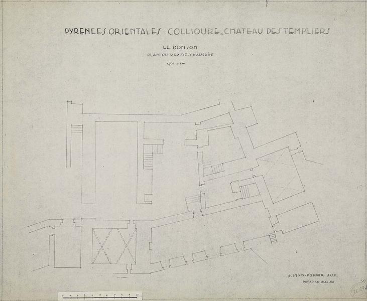 Restauration de l'édifice : plan du rez-de-chaussée du donjon