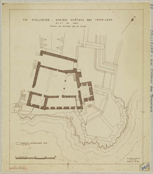 Restauration de l'édifice : plan du niveau de la cour ; état actuel
