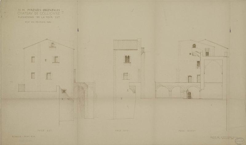 Restauration de l'édifice : élévation des façades de la tour est ; état actuel