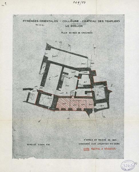 Restauration de l'édifice : plan du rez-de-chaussée avec partie à dégager