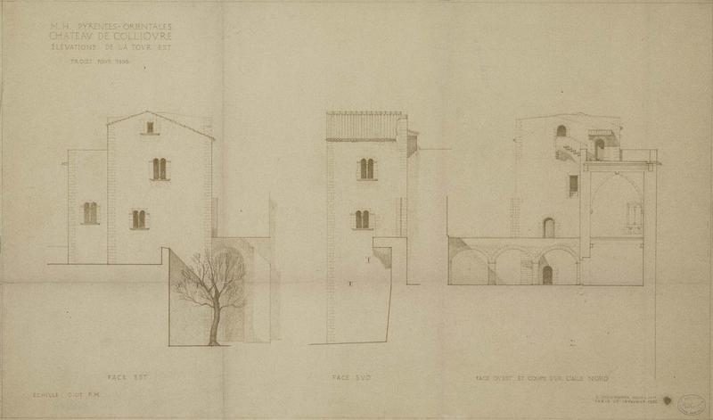 Restauration de l'édifice : élévation des façades de la tour est ; Coupe sur l'aile nord de la tour est ; Projet de restauration