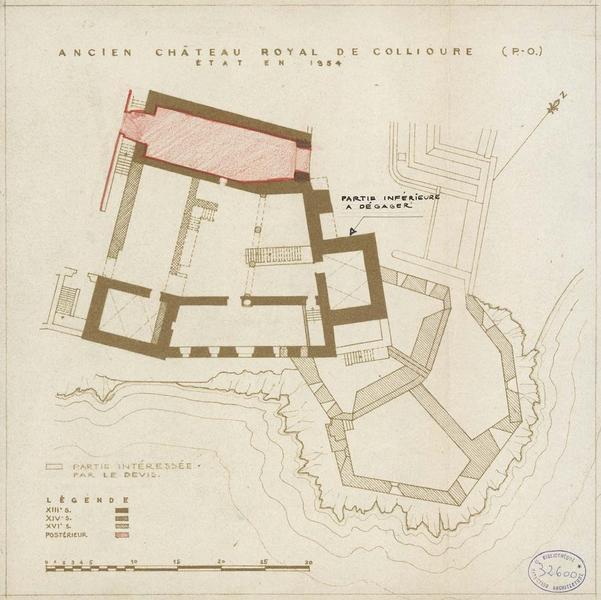 Restauration de l'édifice : plan archéologique avec l'indication des travaux à effectuer ; état actuel