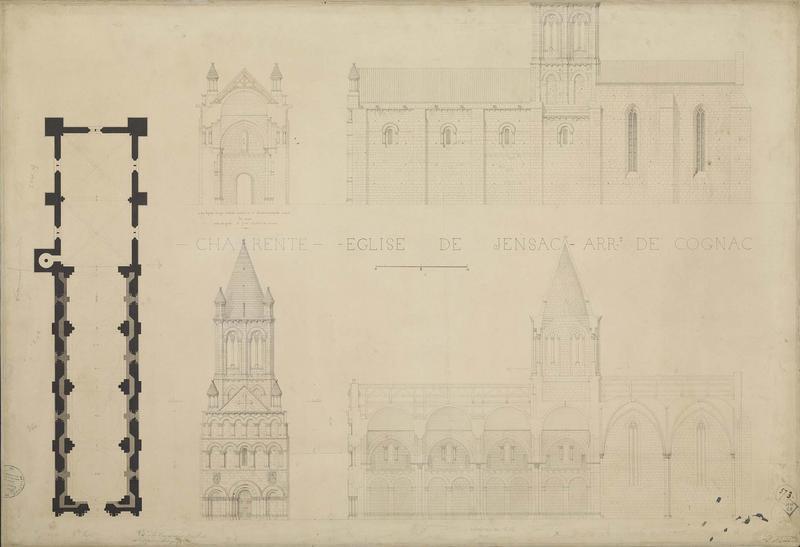 Plan. Élévations des façades principale et latérale. Coupes longitudinale et transversale. Indication des travaux