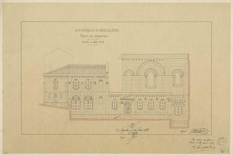 Projet de sacristies. Élévation de la façade latérale