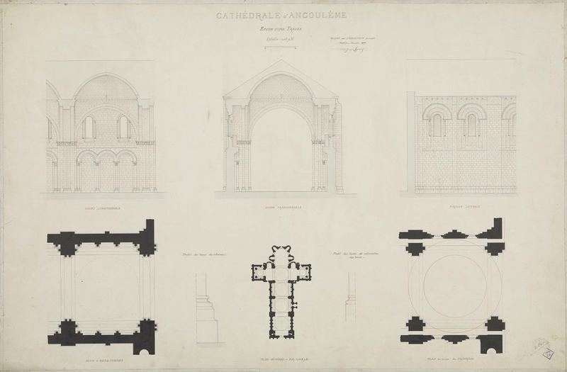 Étude d'une travée. Coupes longitudinale et transversale. Élévation latérale. Plans. Profils des colonne et des colonnettes. Plan général.