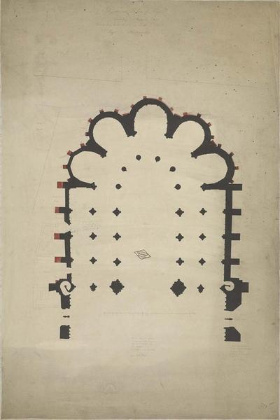Projet de restauration. Plan du choeur, des bas-côtés et des cinq chapelles de l'abside avec indication des travaux
